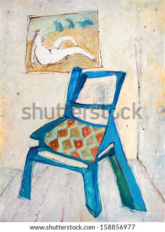Color decoration pattern on background, blue chair, painting - stock photo