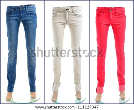 Color denim jeans in blue, white and red, isolated - stock photo