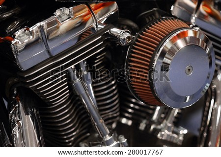 Color detail of the engine of a motorcycle. - stock photo