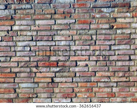 color detail photography of ancient brick wall          - stock photo