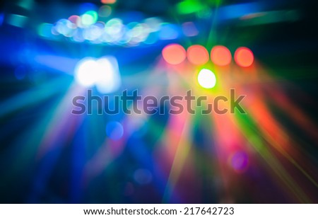 Color disco club light with special effects and laser show - stock photo