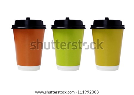 Color Disposable Paper Cups with Lids on White Background - stock photo