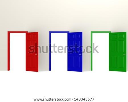 Color doors - stock photo