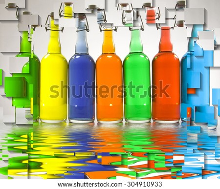 Color FIlled Bottles Abstract - stock photo