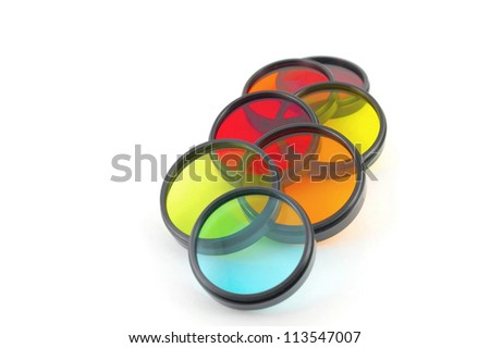 Color filters for lenses over white - stock photo