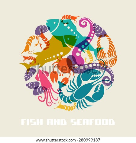 Color fish and seafood icon. Food sign for menu and market. Illustration for print, web. Circle design element for logo template - stock photo