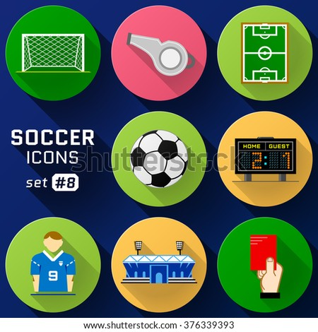 Color flat icon set of soccer elements. Pack of symbols for association football. Qualitative icons about soccer, sport game, championship, gameplay, etc - stock photo