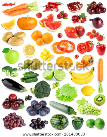Color fruits and vegetables on white background - stock photo