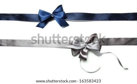 Color gift satin ribbon bows, isolated on white - stock photo