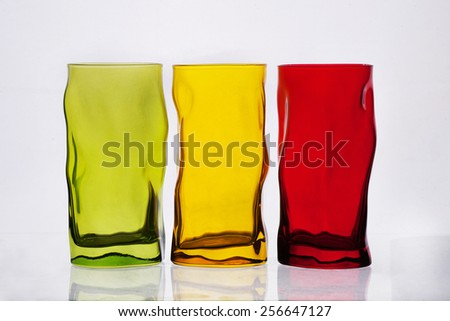 color glasses on white background - stock photo