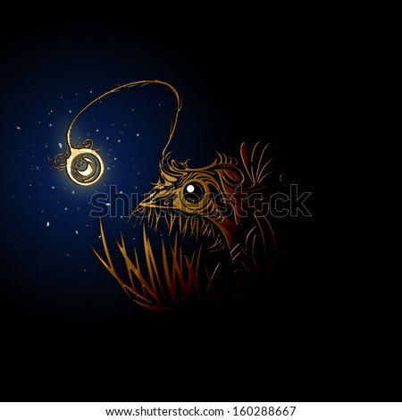 Color graphic illustration of Angler fish in the deep blue - stock photo