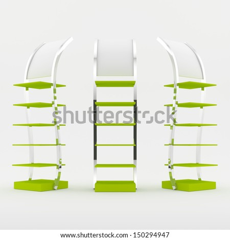 Color green shelves design on white background - stock photo