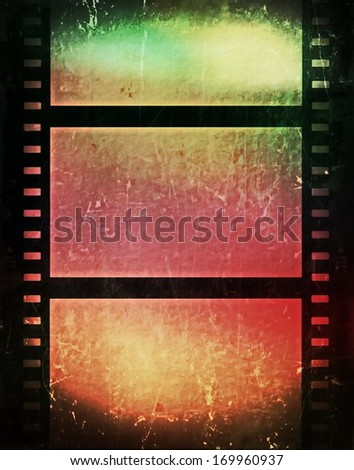 color grunge film strip background - stock photo