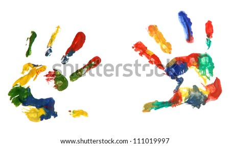 Color hands print, isolated on white - stock photo