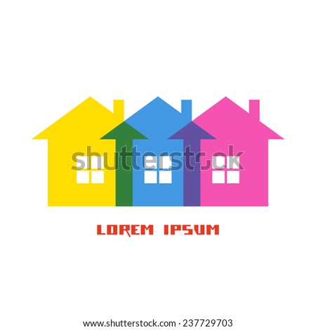 Color house icon. Group of cottage. Simple sign of real estate. Illustration for print, web - stock photo