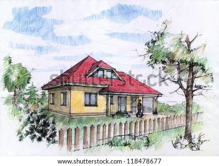 Color illustration of a traditional house with crayons. Architectural concept. - stock photo