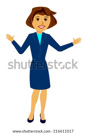 Color Illustration of a Woman in a Business Dress - stock photo