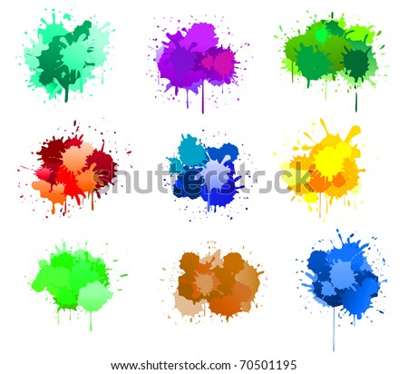 Color ink blots isolated on white for design. Vector version also available in gallery in gallery - stock photo