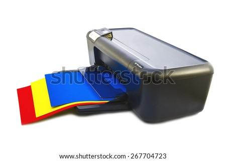 color ink-jet printer tricolor quality printing - stock photo