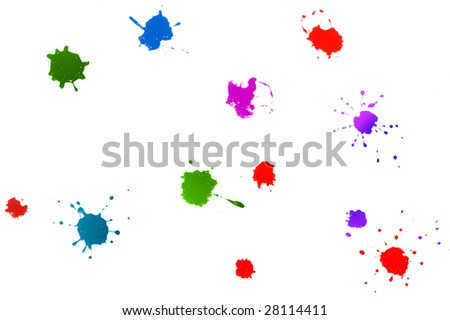 color ink splatters isolated on white background - stock photo