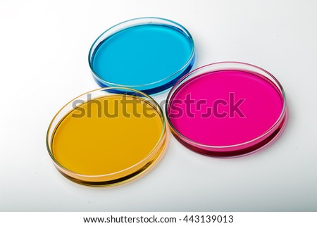 color liquid in petri dishes on white background .Pipette with drop of color liquid and petri dishes. - stock photo