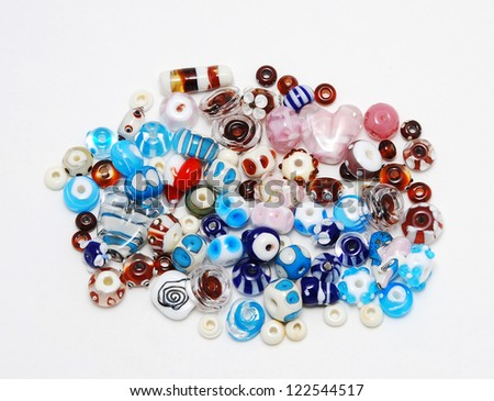 Color mix of  lampwork  beads - stock photo