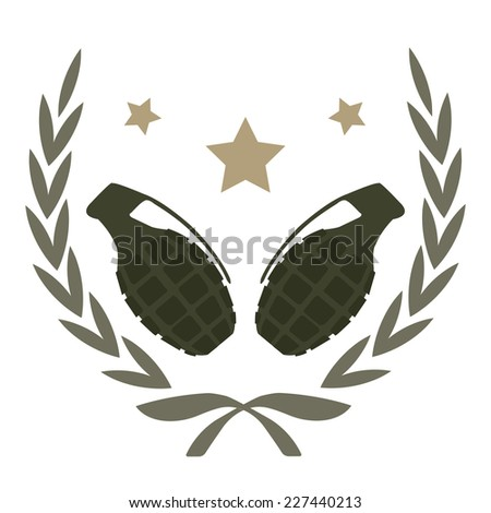 Color, no outline,  logo isolated on white with 2 grenades and stars in laurel wreath frame  - stock photo