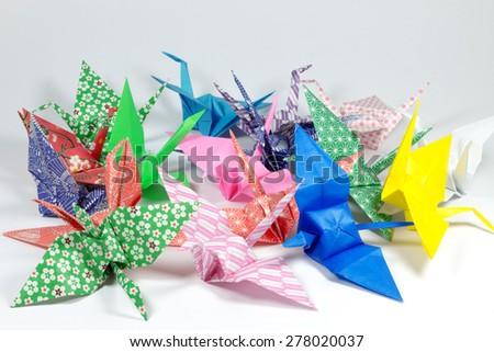 Color Origami Birds. - stock photo