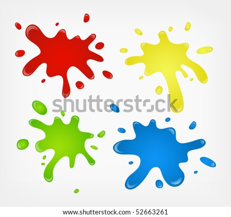 color paint splashes - stock photo