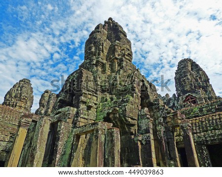 Color Painting Ancient Khmer Bayon Temple at Angkor Thom, Cambodia in Summer on Sandstone Texture - stock photo