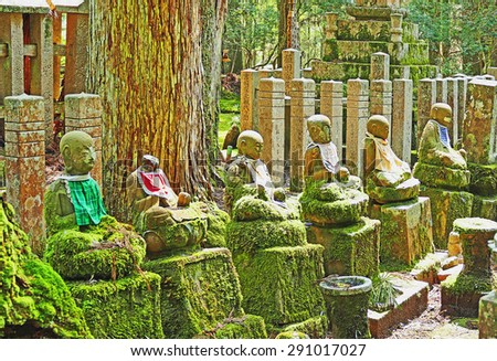 Color Painting Ruins of Ancient Meditating Buddha Statues at Mount Koya, Japan on Canvas Texture - stock photo