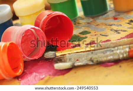 Color paints with brushes - stock photo