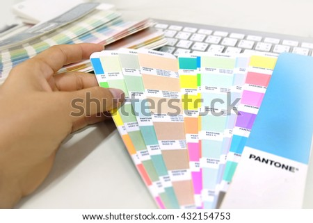 Color palette guide on white background,Focus exclusively on - stock photo