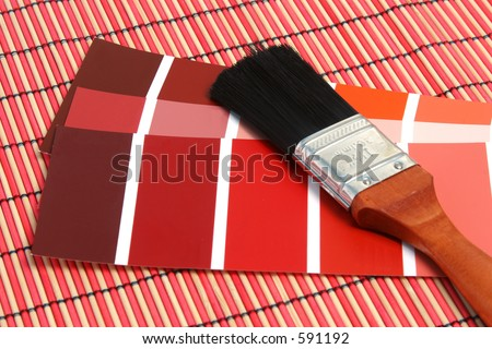 Color palette over a wooden floor. - stock photo