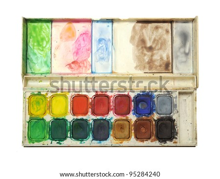 color pallet isolated on white - stock photo