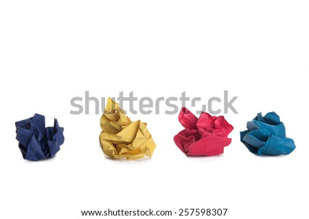 color papers isolated on white - stock photo