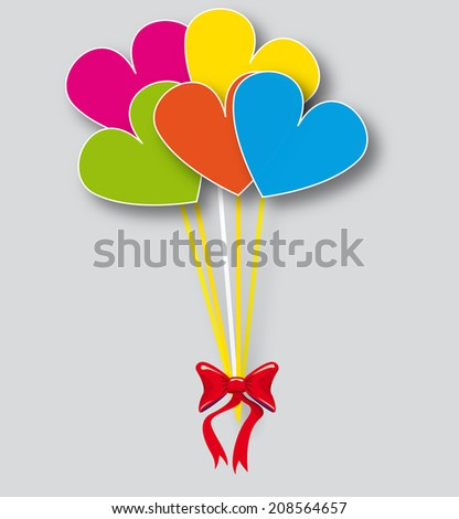 color party baloons heart shaped  - stock photo