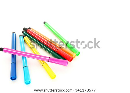 color pen on the white background - stock photo