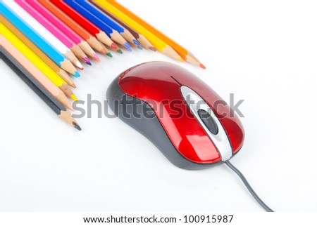 Color pencil and computer mouse - stock photo