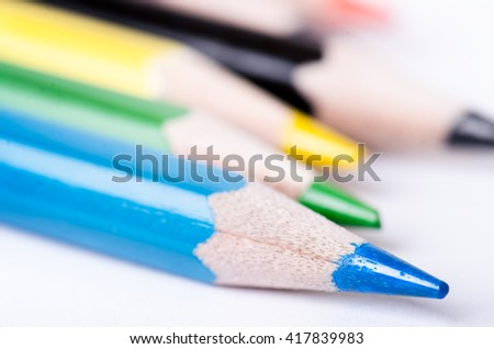 Color pencil isolated on a white background. Lines of pencils. Education concept. Lots of assorted color pencils. Color palette. - stock photo