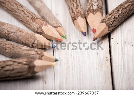 color pencil made of branches - stock photo