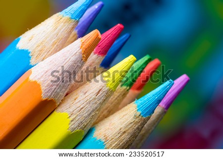 color Pencil on colorful background - stock photo