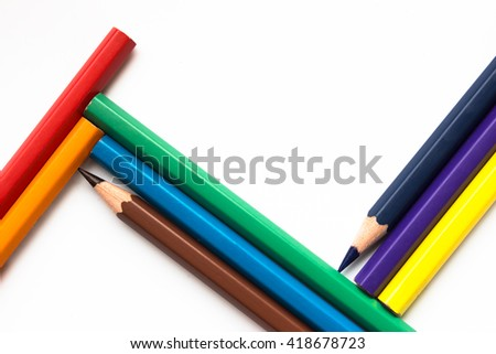 color pencil on white background / concept or design for copy space - stock photo