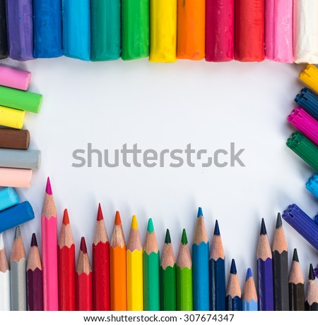 Color pencils background. close up of pencil color and cray.colorful.rainbow. - stock photo