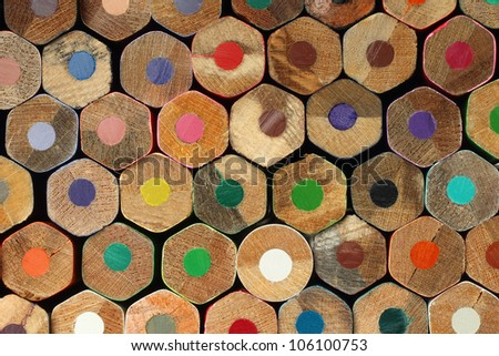 Color pencils background macro - stock photo