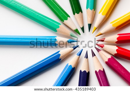 Color pencils.Close up. - stock photo