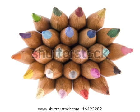 Color pencils collection with colors mixed - stock photo