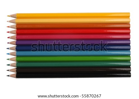 Color Pencils from above - stock photo