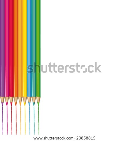 Color pencils illustration - stock photo