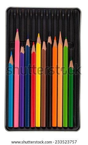 color pencils in a box isolated on white - stock photo